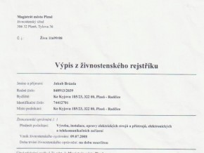 Výpis z živnostenského rejstříku č. 1